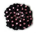 Black Hair Bun Cover with Pink Multi Rhinestones